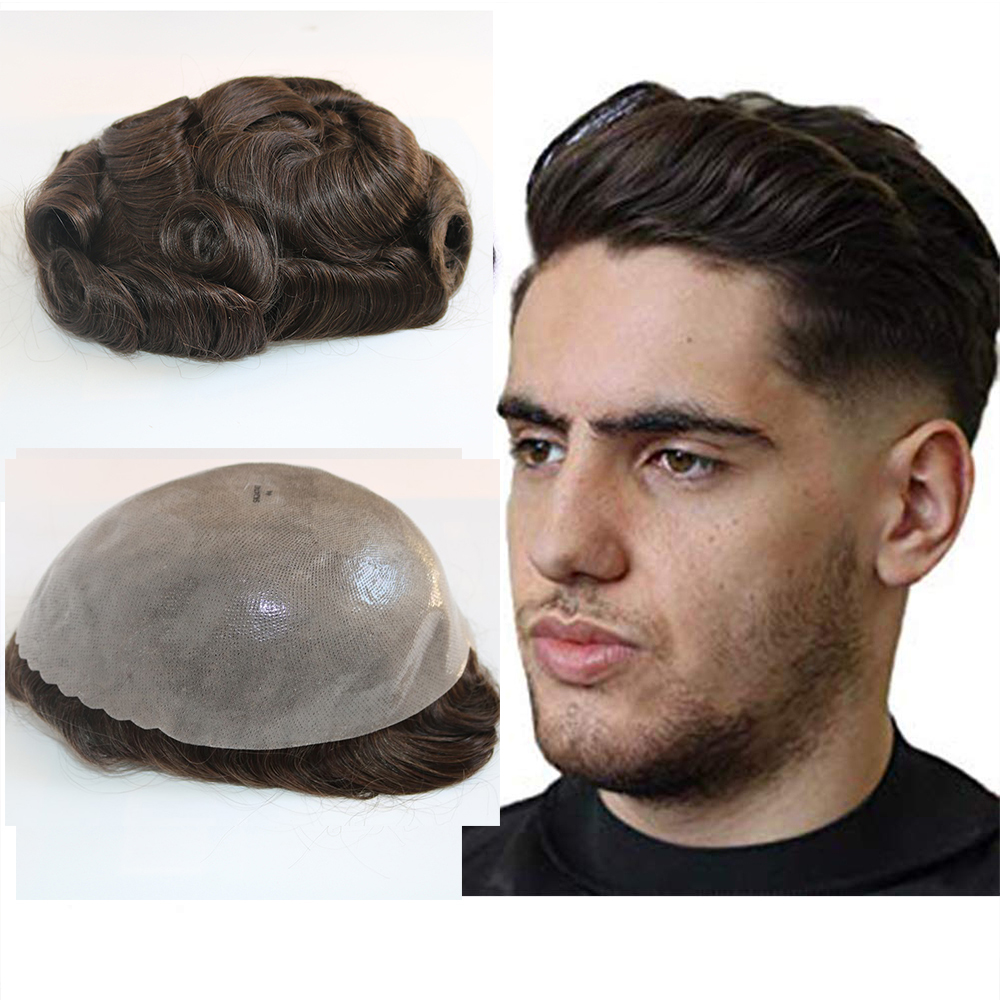 Brown Color Hair Toupee For Men Hair Pieces Single Knots Virgin Human Hair Replacement System For Men Hair Toupee 10