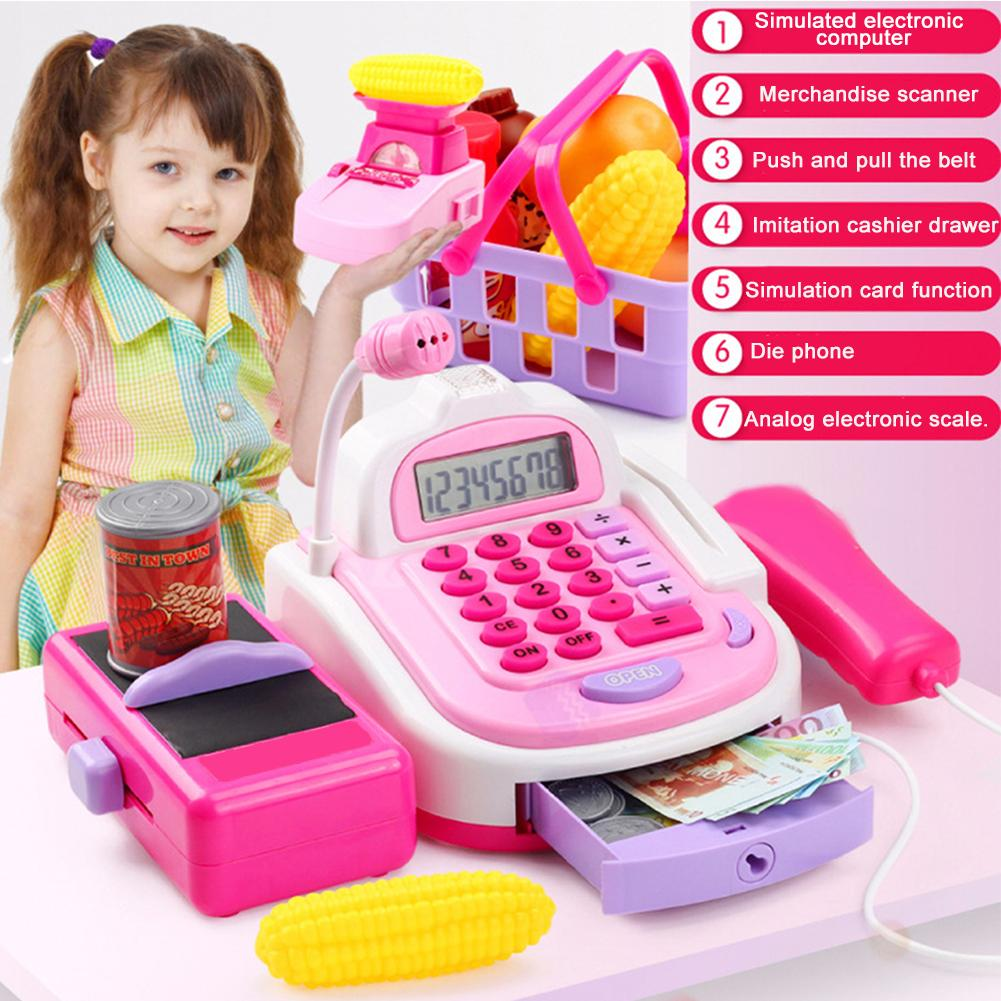 Simulation Market Cash Register Food Set Sound Light Kids Pretend Play Toy Children Multi-function Logical Thinking Gifts Toys