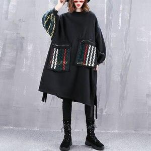 Image 3 - Xitao plus size maré retalhos xadrez moletom roupas femininas 2019 moda oversized pulôver camisola de manga completa topo zll4527