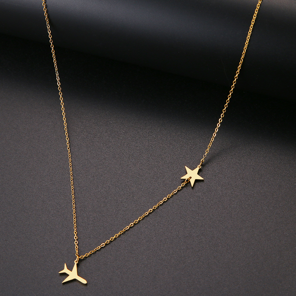 New Simple Sequins Necklace Aircraft And Star Pendant Chain Stainless Steel Necklaces For Women Jewelry Gift Girl Jewelry B32