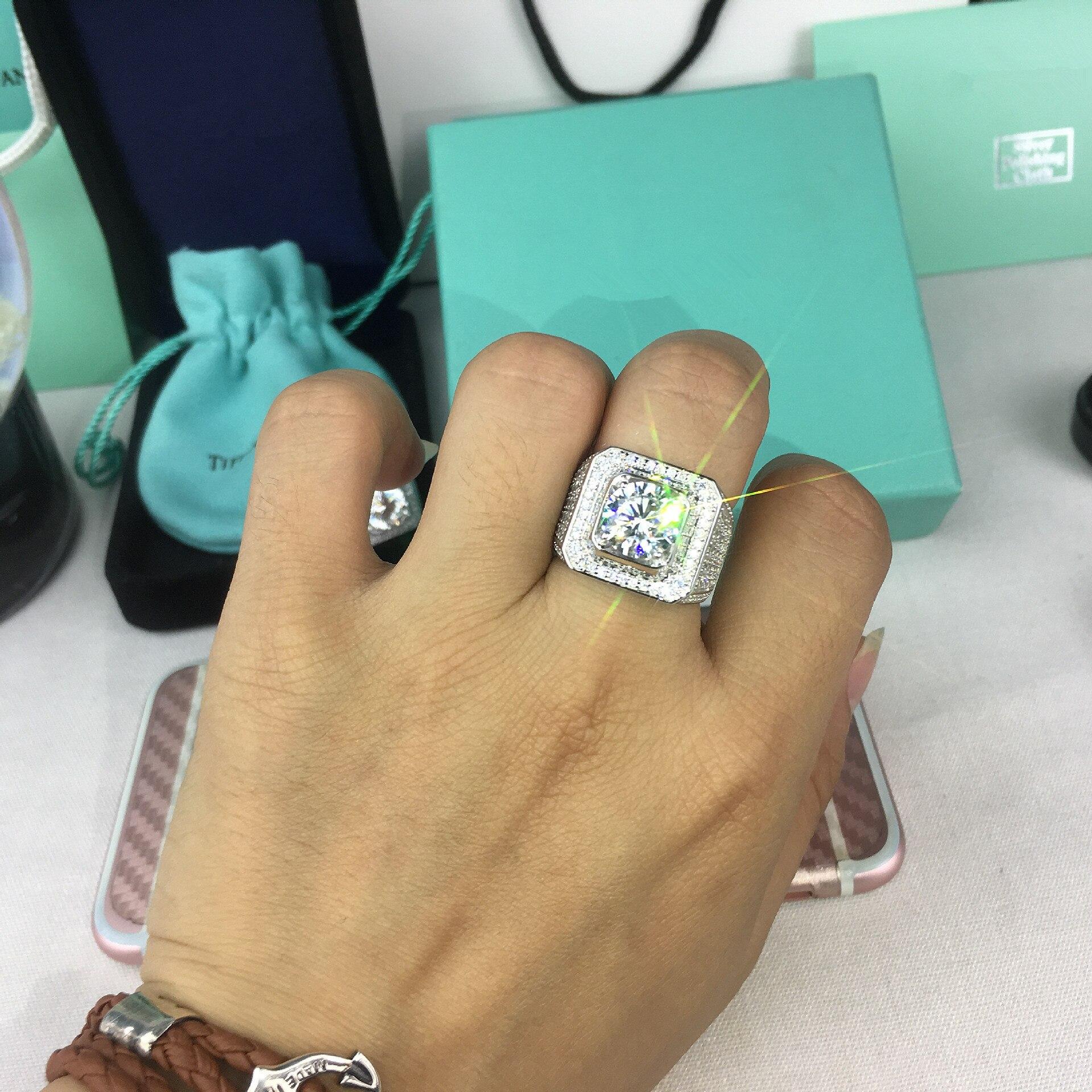 925 Silver VS2 2 Carats Diamond Ring for Men Anillos Bizuteria Gemstone silver 925 Jewelry bague diamant bijoux femme Rings