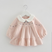 Girls Dress Peter Pan Collar Baby Girls Clothes Kids Dresses For Girl Birthday Party Dress Children Lantern Sleeve Clothing 0-2Y