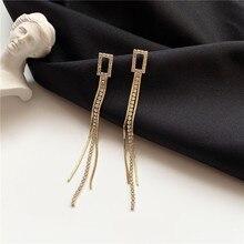 2020 Fashion New Korean Elegant Simple Tassel Earrings Womens Long Crystal Set Super Fairy Girls