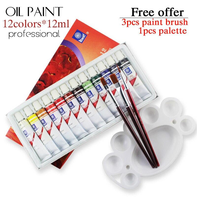 Memória 12 cores 12 ml tubo pintura a óleo define profissional para crianças ferramentas de desenho oferecer escovas para livre fornecimento de arte