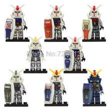 купить 8pcs/lot GUNDAM Zaku Mobile Armor Suit Seed Destiny AEUG Figure Set Robot RX-78 RX-178 MK-11 RX79 Building Blocks Bricks Toys по цене 839.5 рублей
