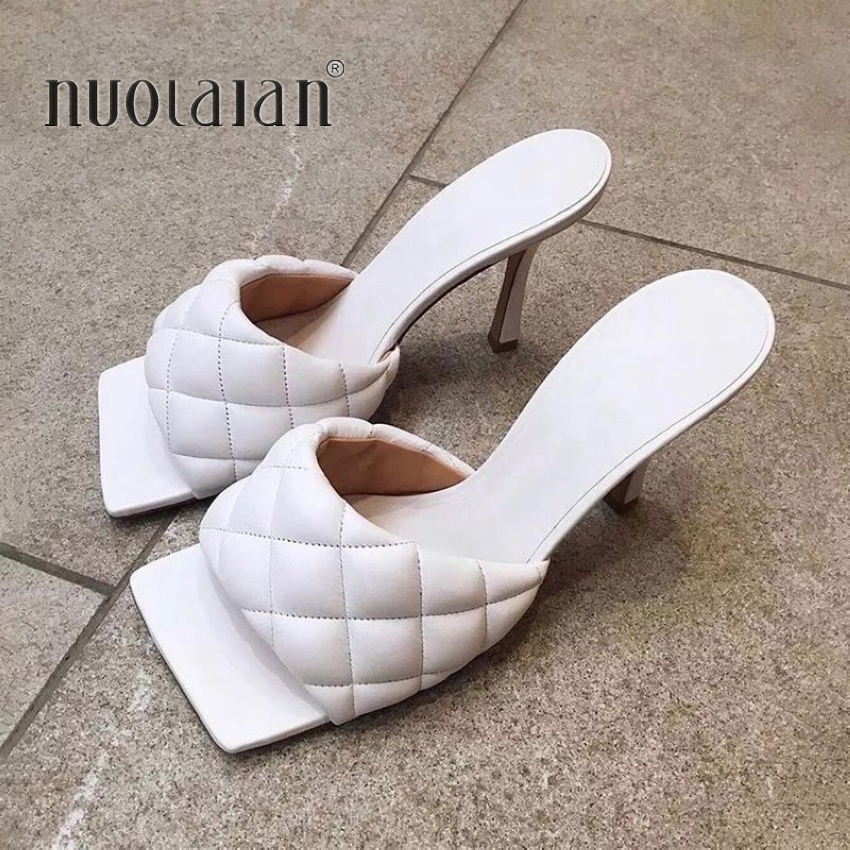 2020 New Summer Women Square Toe Sandals Ladies Pu Leather Plaid Outside Thin High Heels Slippers Female Fashion Woman Shoes
