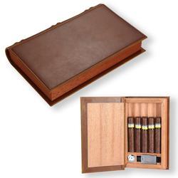 GALINER Gadgets cigare étui en cuir voyage tabac boîte de rangement Portable 5 cigares porte-humidificateur avec hygromètre humidificateur Cutter