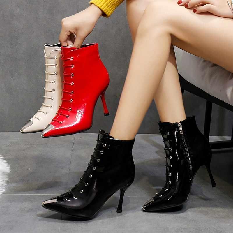 Lucyever 2019 sonbahar kış yüksek topuk ayakkabı kadın Patent deri yarım çizmeler seksi sivri burun çapraz bağlı ince topuklu parti çizmeler