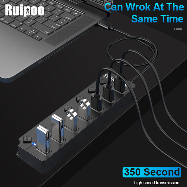 USB Hub 3.0 High Speed 4 / 7 Port USB 3.0 Hub Splitter On/Off Switch with EU/US Power Adapter for MacBook Laptop PC HUB USB 3.0 4
