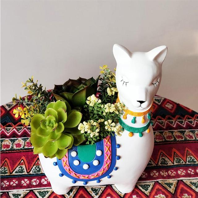 1PC Pot de fleur résine alpaga Shpaped plantes succulentes Pot de fleurs bonsaï bureau décoration