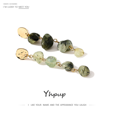 Yhpup Natural Stone Dangle Earrings Green White Long Chain Earrings for Women Female Ethnic Jewelry Party S925 Accessories 2019