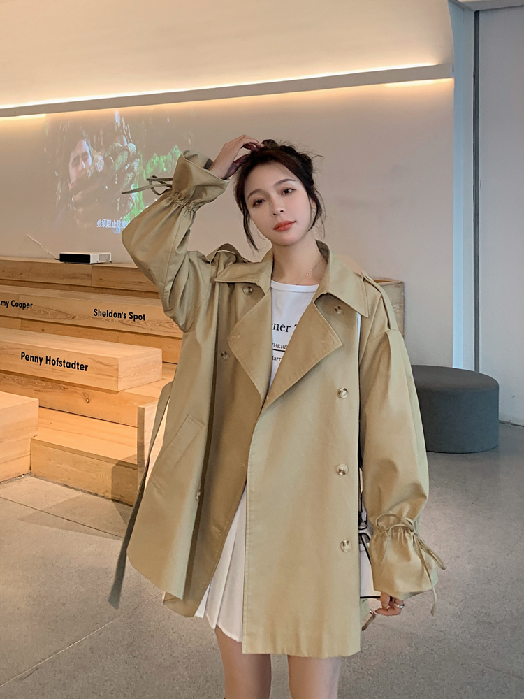 2020 Quarter New Fund Pulling Rope Windbreaker Loose Moda Mujer Tunic Female Coats Office Lady Canvas Three Favourite
