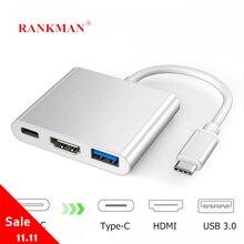 Ранкман Тип C к HDMI 4K USB C 3,1 3,0 VGA концентратор адаптер кабель для Macbook Samsung S9 Dex Huawei P30 док проектор ТВ монитор