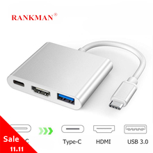 Rankman Type C to HDMI 4K USB C 3.1 3.0 VGA Hub Adapter Cable for Macbook Samsung S9 Dex Huawei P30 Dock Projector TV Monitor
