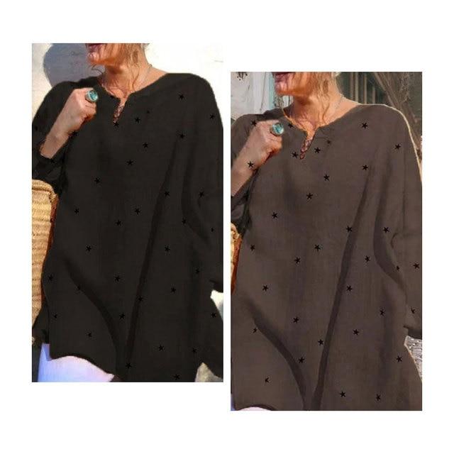 Jocoo Jolee Long Sleeve V Neck Stars Print Loose Blouse Casual Oversized Shirt 2020 New Elegant Tops Ladies Clothing 5