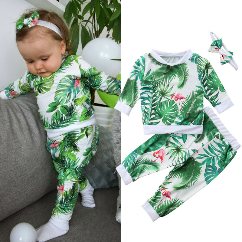 Emmababy Newborn Baby Girl Flower Flamingo Tops Pants Leggings Headband Outfit Clothes