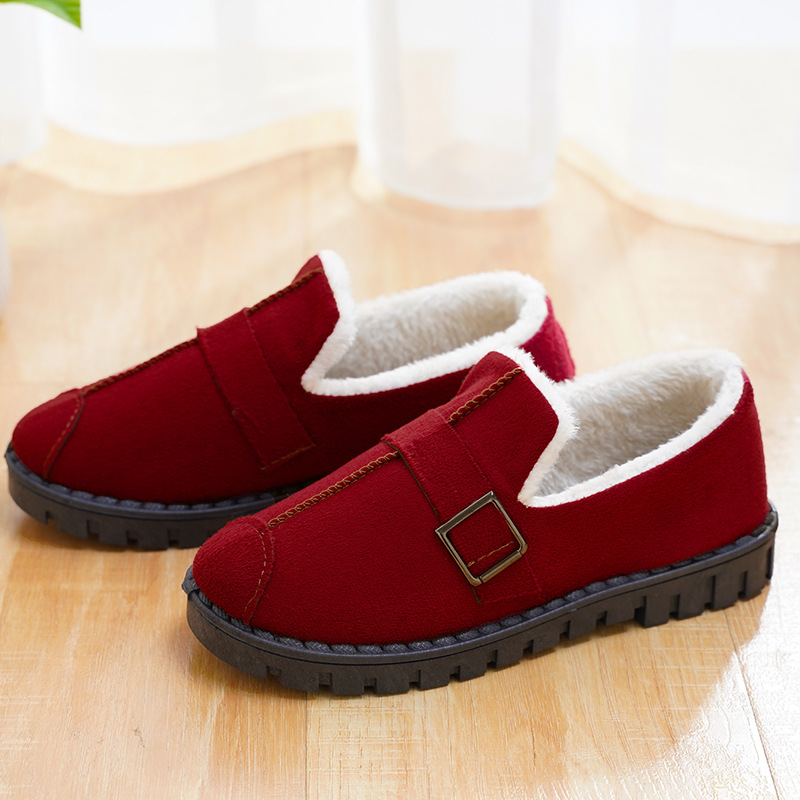 UPUPER Home Shoes Casual Fashion Non-slip Shoes Woman Loafers Flats Cotton Indoor Shoes Soft Bottom Slip-on Fur Slippers Winter