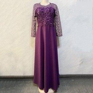 Image 1 - ชุดแอฟริกันผู้หญิง Elegant Maxi Feminino O Neck เอวสูงหวานชุดฤดูใบไม้ผลิสีทึบชุดสตรียาว