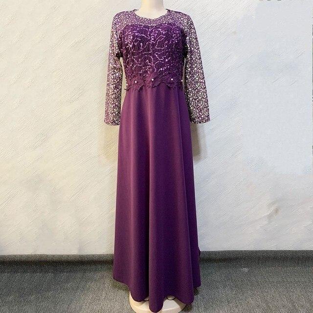 ชุดแอฟริกันผู้หญิง Elegant Maxi Feminino O Neck เอวสูงหวานชุดฤดูใบไม้ผลิสีทึบชุดสตรียาว