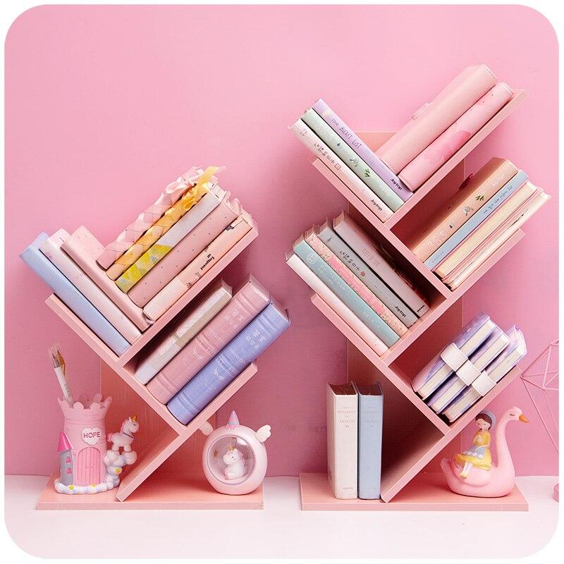 Wood Bookshelf Desktop Book Storage Box Multilayer Books Organizer Desktop Bookends Desk Accessories School Office Supplies Pink