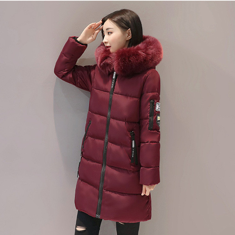 Causal Medium Long Women's Winter Jackets And Coats Thick Warm Parka Female Down Cotton Hooded Coat Solid Slim Parkas