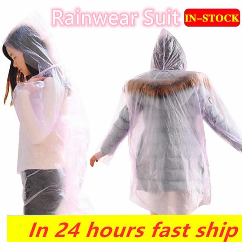 1/5/10 pçs mulher homem capa de chuva engrossado à prova dthickágua chuva poncho casaco adulto claro transparente acampamento hoodie rainwear terno