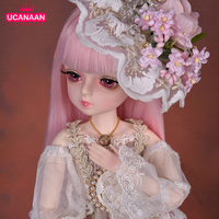 UCanaan 45CM BJD Doll 1/4 SD Dolls 18 Ball Joints With Pink Wig Royal Dress Shoes Full Outfits Toys For Girls Best Gifts
