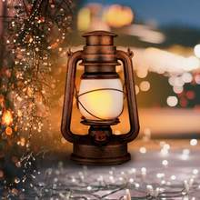 linternas Vintage Style LED Handle Lamp Lantern for Outdoor Camping Tent Lighting White Warm Yellow Light Double Lighting(China)