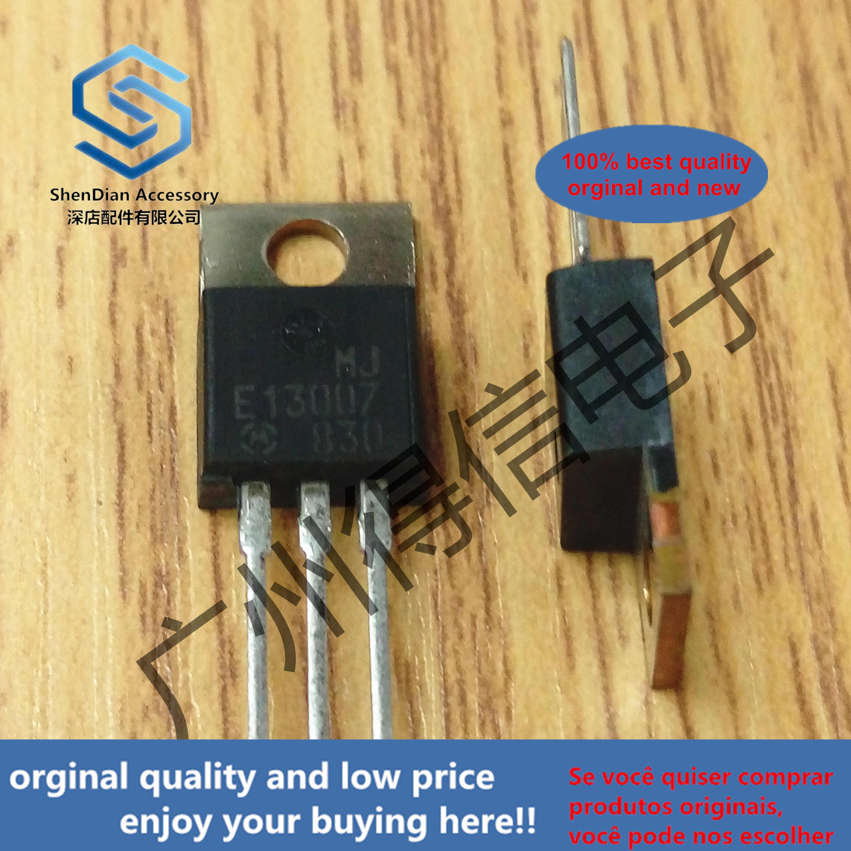 10pcs 100% Orginal New MJE13007 13007 TO-220  POWER TRANSISTOR 8.0 AMPERES 400 VOLTS 80/40 WATTS Real Photo