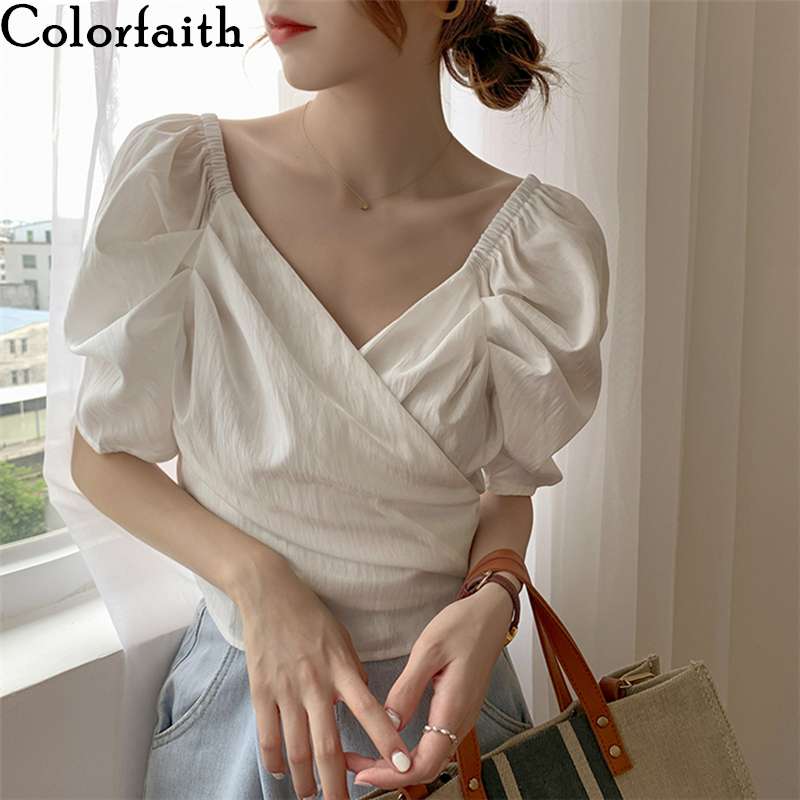 Colorfaith New 2020 Women Summer Blouses Shirts V-Neck Casual Puff Sleeve Vintage Fold Lace Up Asymmetrical Short Tops BL20057