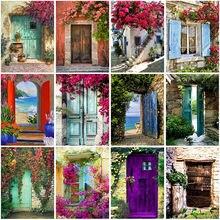Diy 5d diamond painting house door embroidery flowers cross