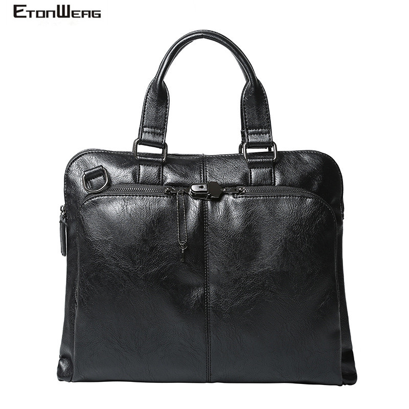 Men's Business Office Briefcase Waterproof PU Leather Tote Black Solid Messenger Bags Computer Laptop Bag Vintage Large Handbag