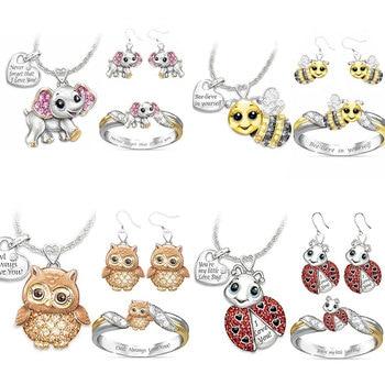 цена на Cartoon Animal Children's Jewelry Set Lovely Owl Unicorn Bee Elephant Jewelry Sets Baby Girls Birthday Jewelry Gifts