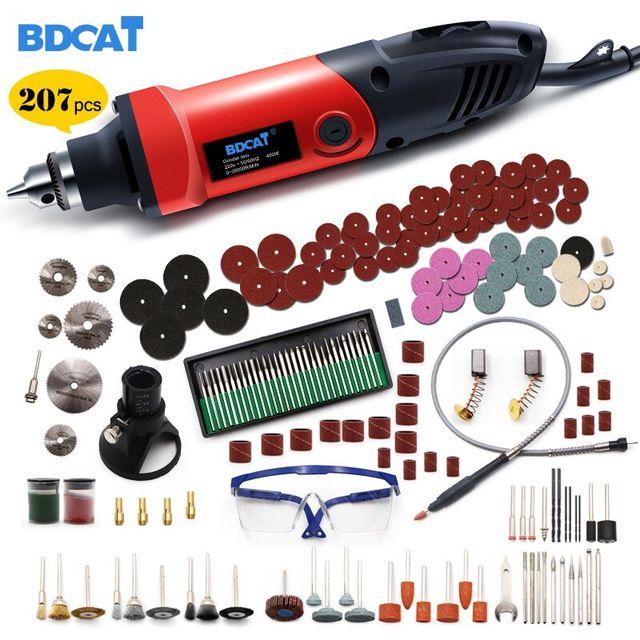 BDCAT 6 мм 400 Вт мини электрическая дрель, гравер с 6 позициями с переменной скоростью вращающихся инструментов Dremel с гибким валом