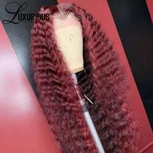 Роскошный кудрявый парик с красной подсветкой, 360 кружевной передний парик, бразильский парик, 13х6 99J, цветные парики из натуральных волос