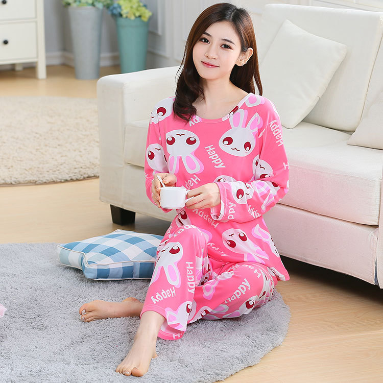 Spring And Autumn GIRL'S Pajamas Casual Comfortable Long Sleeve Cartoon Spring Home Wear WOMEN'S Pants Two-Piece Set