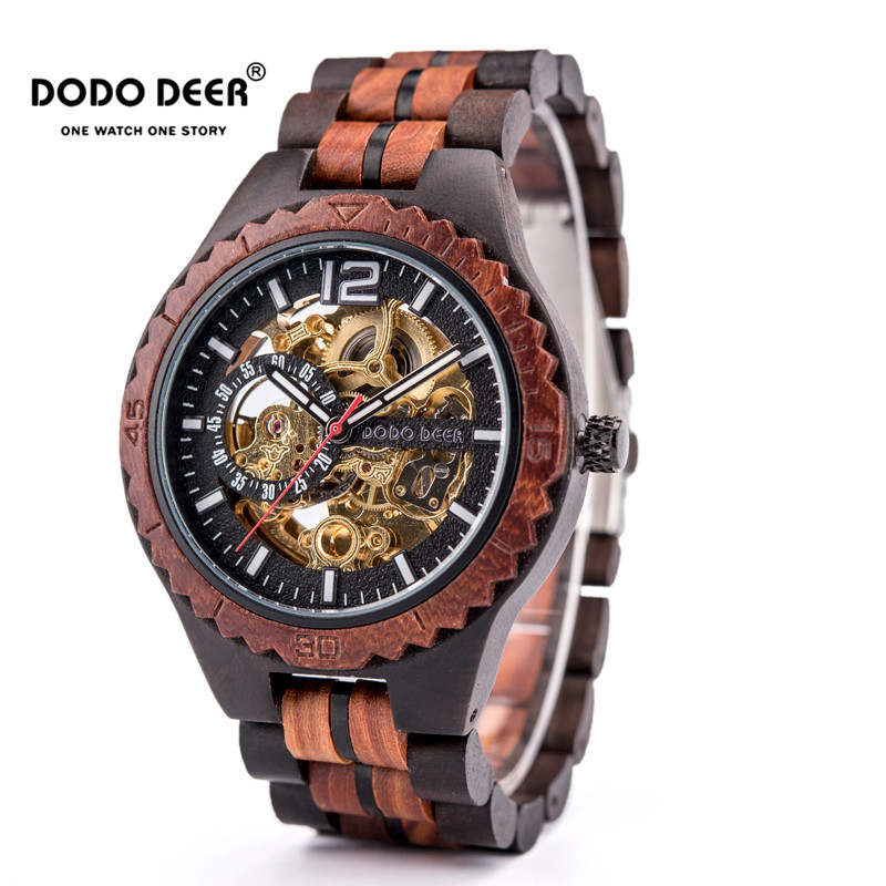 DODO DEER 나무 기계식 시계 커플 Relogio Masculino 여성 남성 시계 Luxury Timepieces erkek kol saati Dropshipping D18
