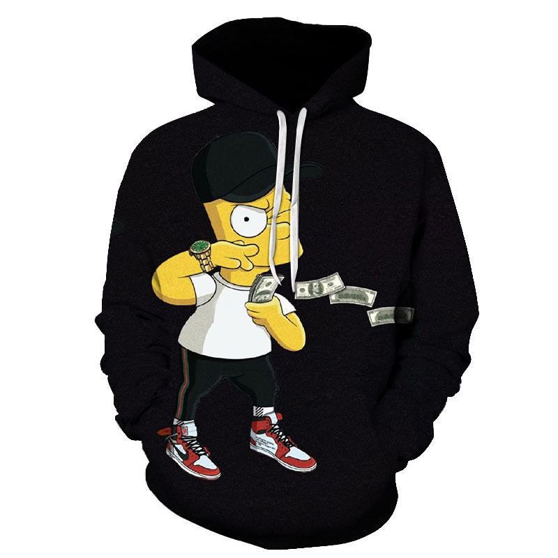 Mens Hoodies Fashion Brand Style Sweatshirts Black Simpson Friends Printed Pattern Long Sleeve Autumn Winter Leisure Pullover