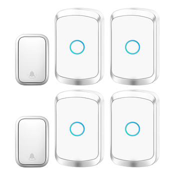 CACAZI Self-powered Waterproof Wireless Doorbell with No Battery EU US UK Plug Cordless Door Bell 2 button 4 Receivers 60 Chimes