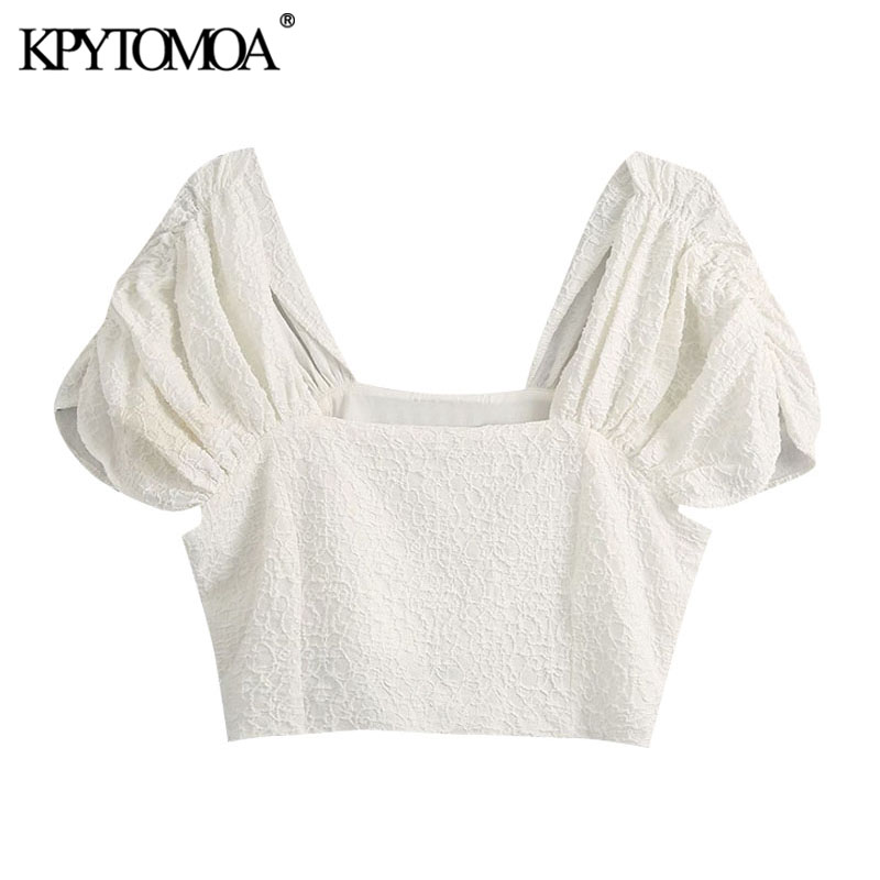 KPYTOMOA Women 2020 Fashion Textured Weave Cropped Blouses Vintage Square Collar Puff Sleeves Female Shirts Blusas Chic Tops