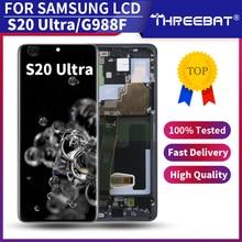 6.9 nowy SUPER AMOLED do SAMSUNG Galaxy S20 Ultra LCD G988 G988F dotykowy Digitizer zgromadzenie dla S20 Ultra wyświetlacz z ramką