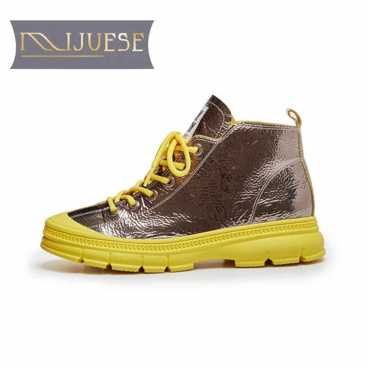 MLJUESE 2020 kadın yarım çizmeler koyun yuvarlak ayak sarı renk dantel up sonbahar bahar bayan botları parti elbise boyutu 40