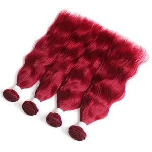 Image 4 - Burgundy/99J สีแดงสี Auburn Natural Wave มนุษย์ผมสาน 1/3/4 ชุด X TRESS บราซิล   Remy Human Weft Extensions
