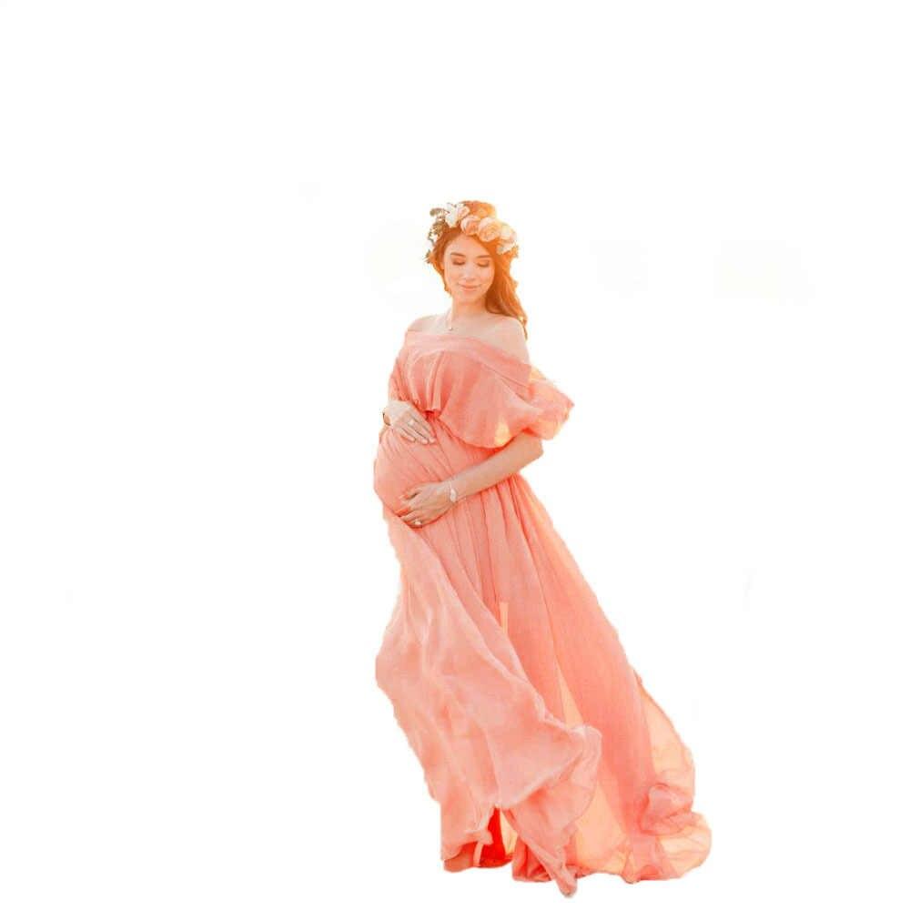 Vestido longo de praia para grávidas, vestido de maternidade sem ombro chiffon para fotografias, adereços de fotos