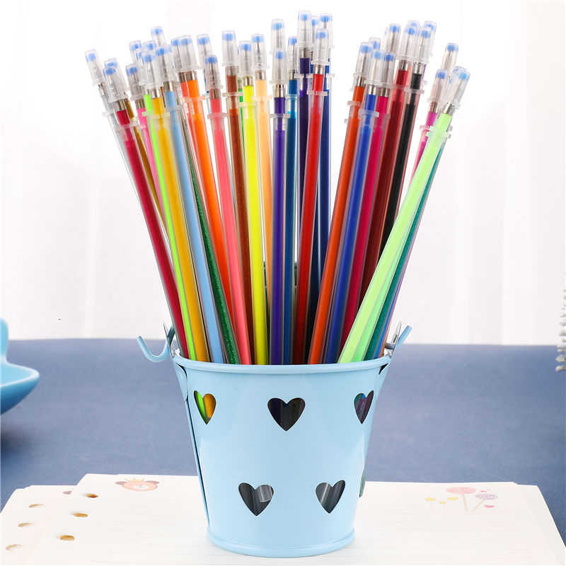 100PCS Mehrfarbigen Kugelschreiber Gel Stifte Refill Set Bunte Malerei Zeichnung Stift Shell Abdeckung Schule Schreibwaren Liefert 4116