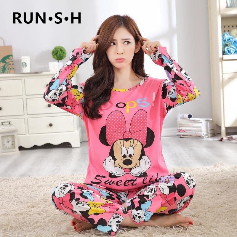 Girls Mickey Winter Pajamas Set Cartoon Minnie Girl Sleepwear Pijama Long Women Pyjamas Suit Female Clothing Set 2019 Nightwear