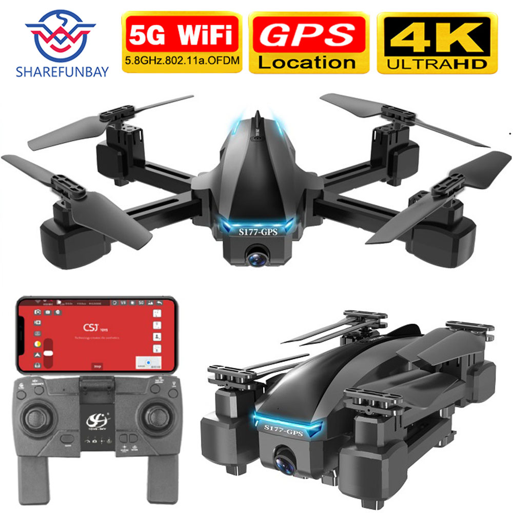 Permalink to SHAREFUNBAY S177 drone 4k gps 5g WIFI hd wide angle dual camera fvp drone flight 20min rc distance 600m quadcopter vs s167 drone