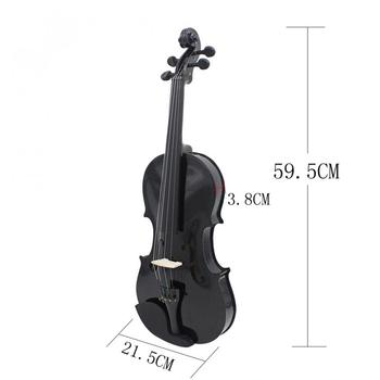 Violin 4/4 Full Size Black Acoustic Violin Fiddle with Case & Bow & Rosin for Violin Beginner Stringed Instruments 1 8 kids children natural acoustic violin fiddle with case bow rosin musical instrument gifts