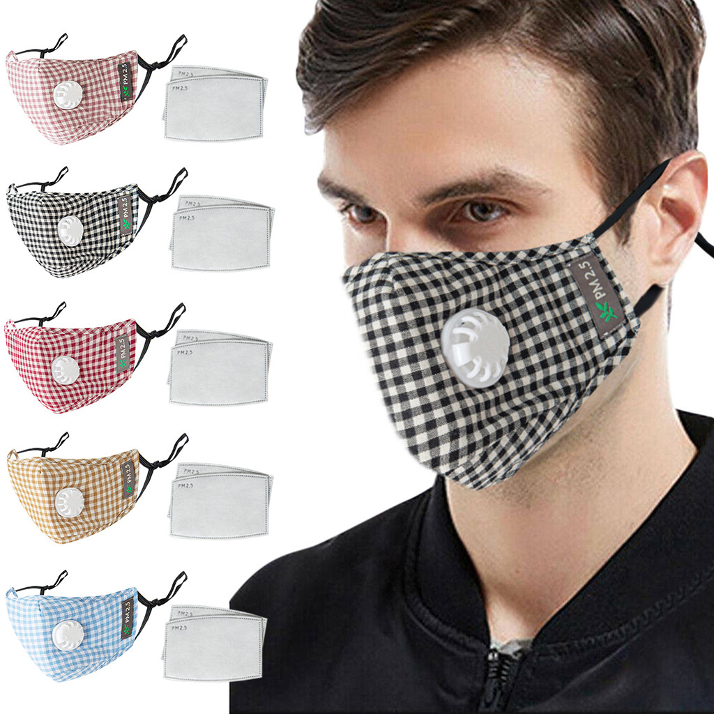 Men Women Face Mask Plaid Printed Reusable Dustproof PM2.5 Anti Pollution Mask Unisex Protective Respirator Washable Reusable