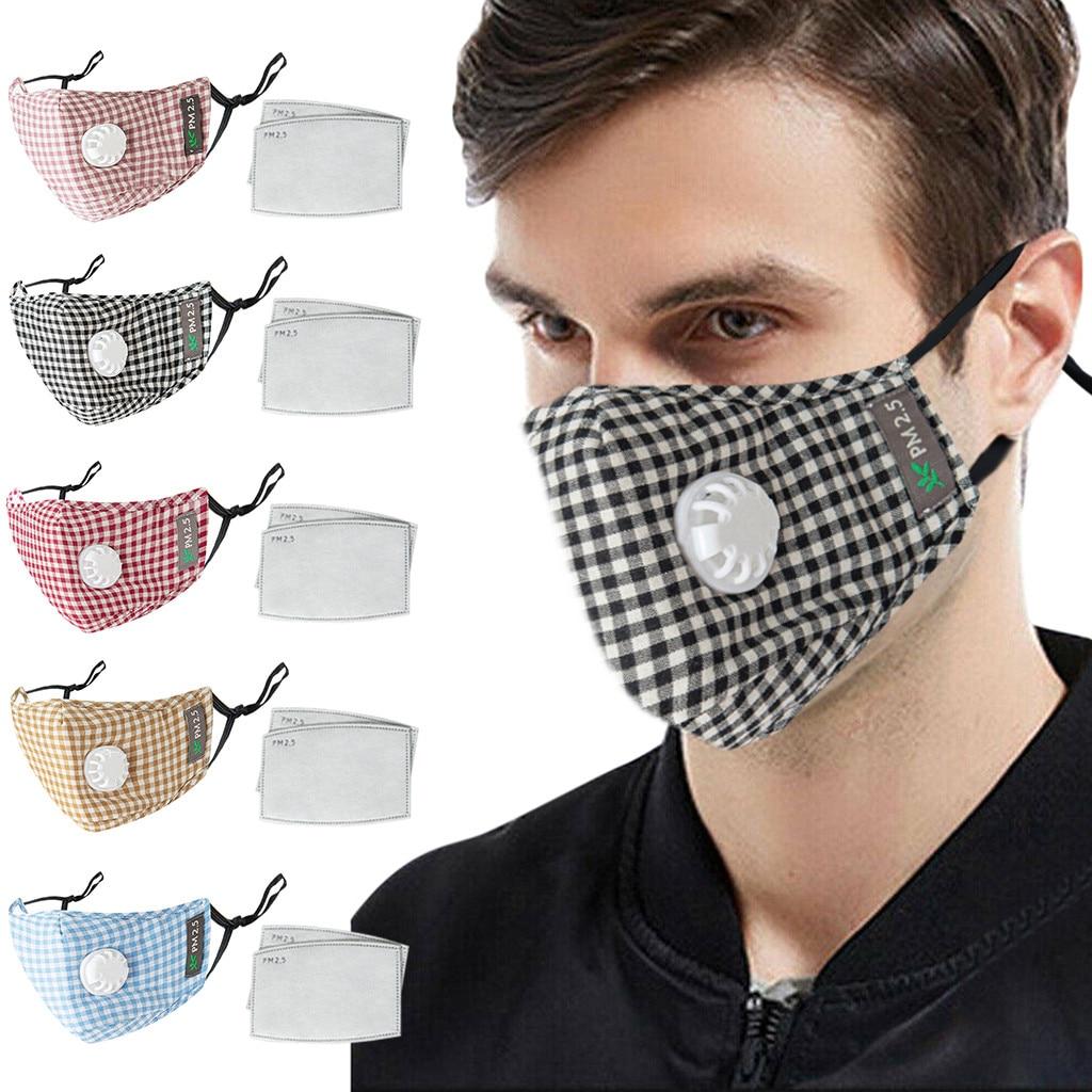 Men Women Face Mask Plaid Printed Reusable Dustproof PM2.5 Anti Pollution Mask Unisex Protective Respirator Washable Reusable